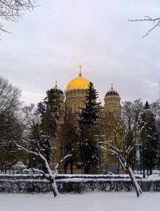 Парк Эспланда. Кафедральный собор Рождества Христова в Риге. 7 января 2017 года
